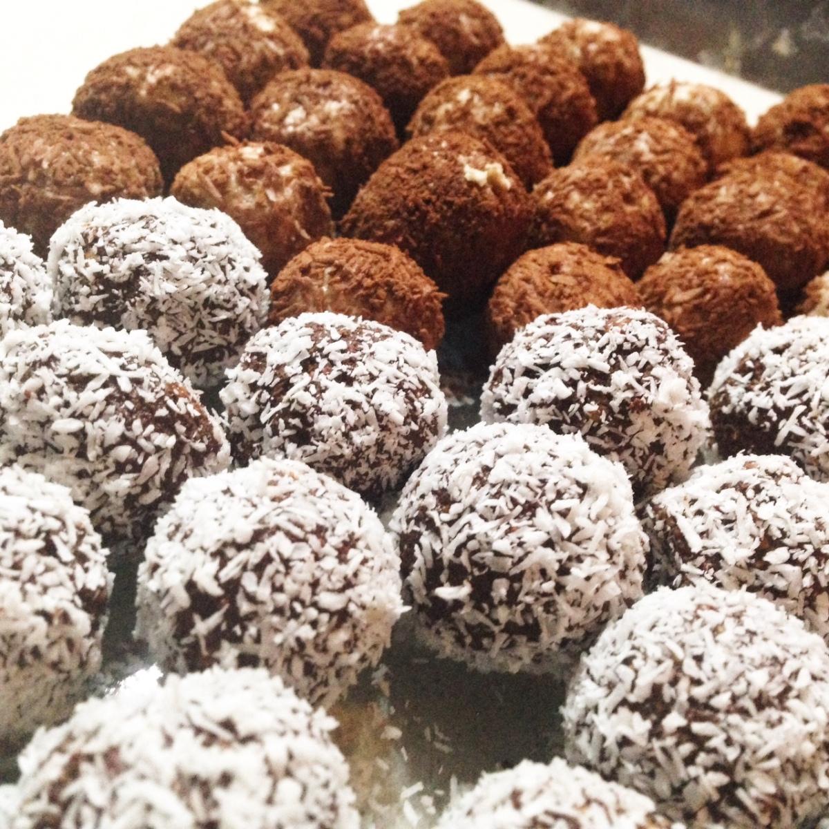 Chocoladetruffels met havermout en kokos